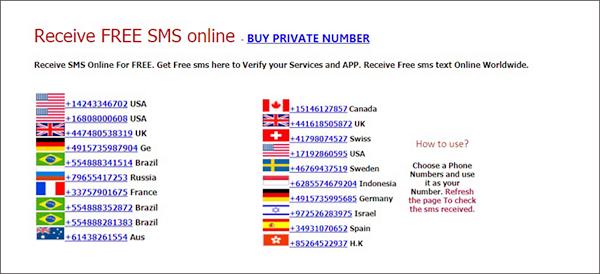 Utilisation de Receivefreesms.com pour vous aider à recevoir des SMS en ligne gratuitement.