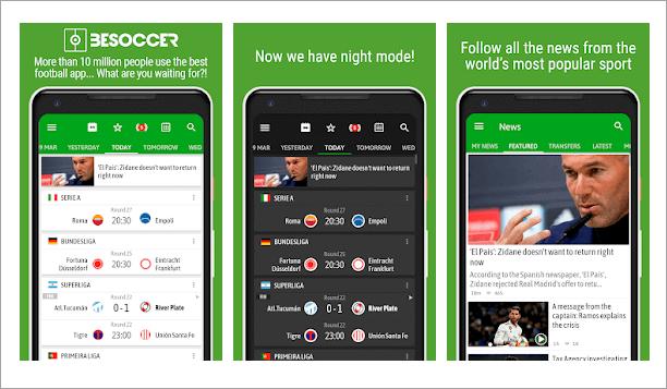 BeSoccer est l'une des applications les plus populaires pour regarder le football européen.