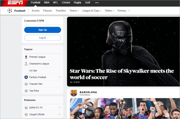 WatchESPN est un site Web populaire aux États-Unis pour diffuser tous les programmes sportifs populaires